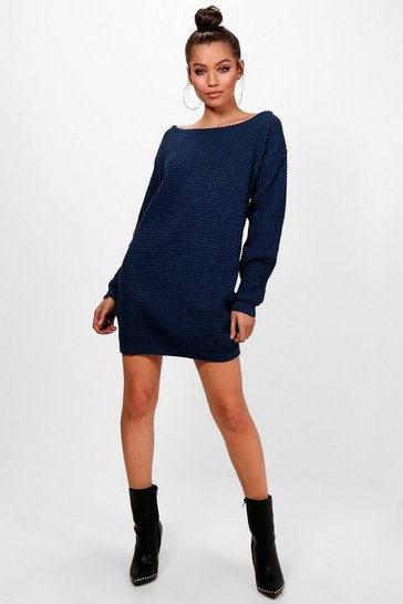 Navy Slash Neck Marl Knit Jumper Dress