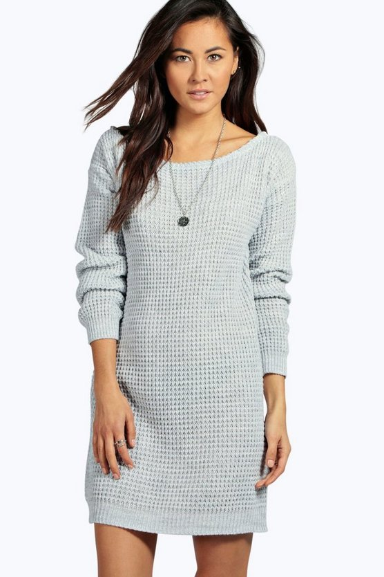 Slash Neck Marl Knit Jumper Dress
