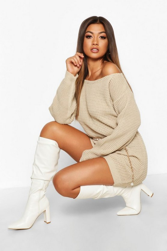 Womens Stone Slash Neck Marl Knit Sweater Dress