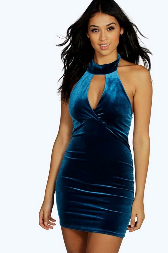High Neck Cut Out Velvet Bodycon Dress