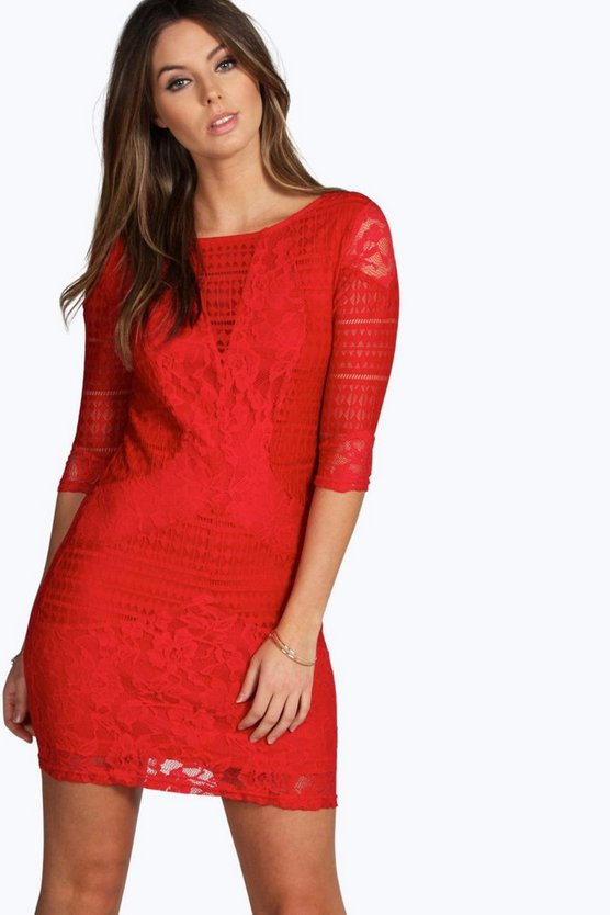 Womens Red All Over Lace Panelled Bodycon Dress
