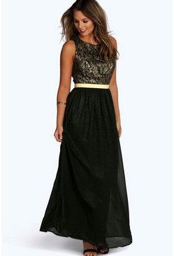 Womens Black Boutique  Lace & Metallic Maxi Dress