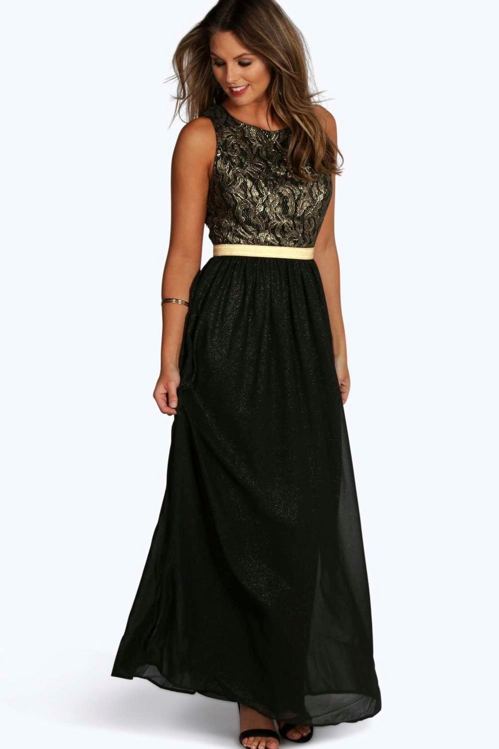 000c4802209 Womens Black Boutique Lace   Metallic Maxi Dress