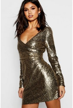 Womens Gold Boutique  All Over Sequin Bodycon Dress