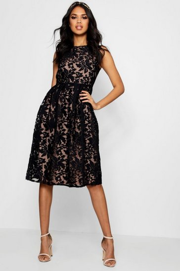 Black Boutique Embroidered Skater Bridesmaid Dress