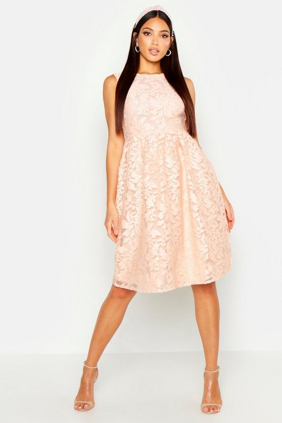 Collection robe patineuse brodée en organza, Blush, Femme