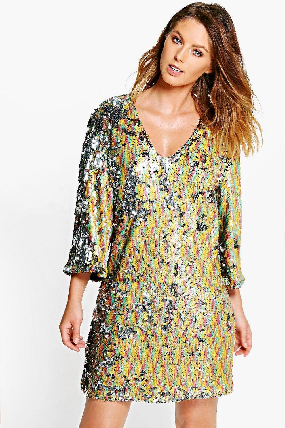 d0f5c04506 Boutique Hazel Multi Sequin V Neck Shift Dress