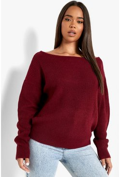 Womens Berry Crop Slash Neck Fisherman Jumper