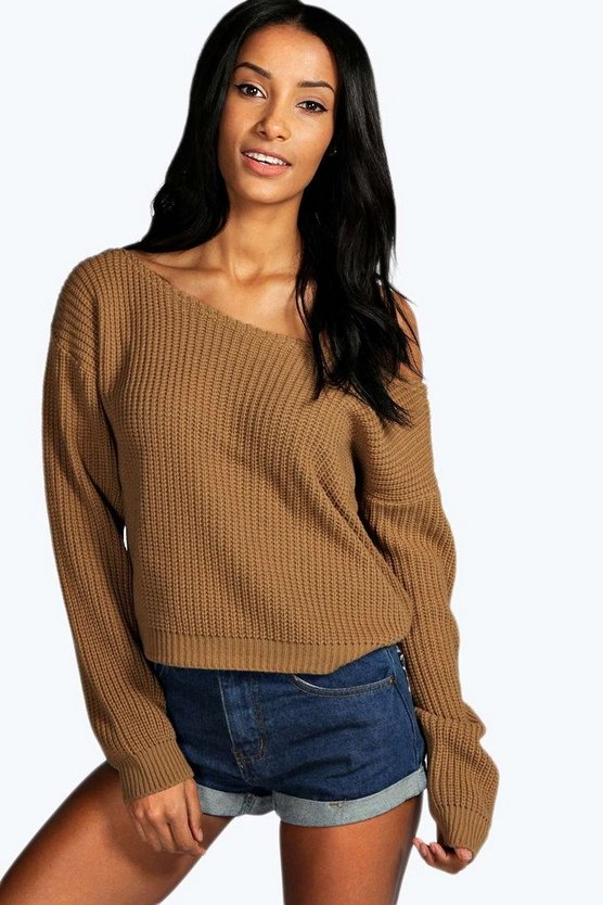 Womens Camel Crop Slash Neck Fisherman Jumper