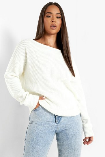 Womens Cream Crop Slash Neck Fisherman Jumper