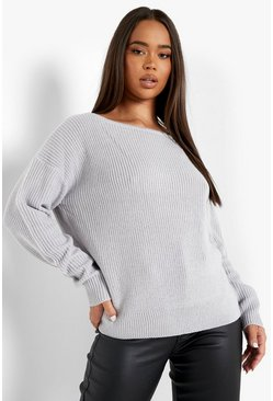 Womens Grey Crop Slash Neck Fisherman Jumper