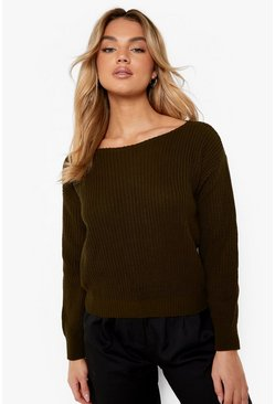 Khaki Crop Slash Neck Fisherman Sweater