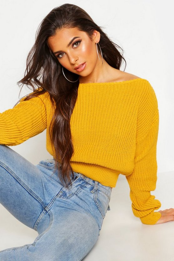 crop-slash-neck-fisherman-jumper by boohoo