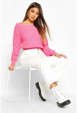 Womens Pink Crop Slash Neck Fisherman Sweater