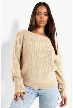 Dam Stone Crop Slash Neck Fisherman Jumper