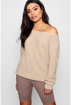 Womens Stone Slash Neck Fisherman Jumper