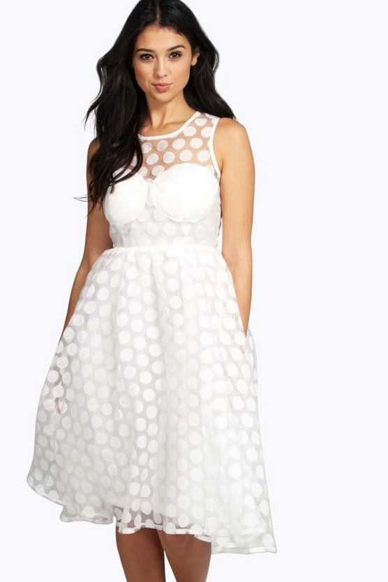 Womens Ivory Boutique Lola Organza Polka Dot Skater Dress