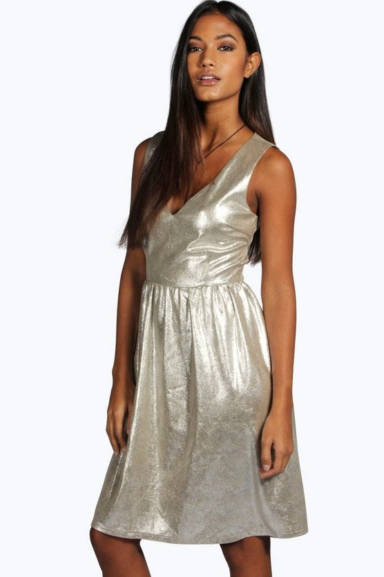 Boutique Mia Metallic Open Back Skater Dress
