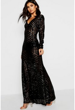 Black Boutique Sequin & Mesh Maxi Dress
