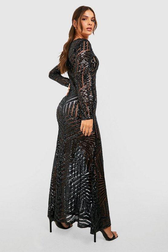 Boutique Sequin & Mesh Maxi Dress