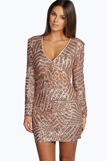 Womens Nude Boutique  Sequin Panelled Bodycon Dress