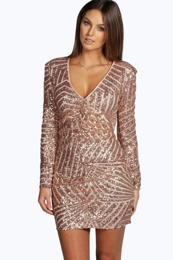 Boutique  Sequin Panelled Bodycon Dress