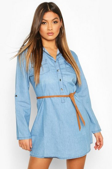 Womens Mid blue Denim Belted Button Front Shirt Dress