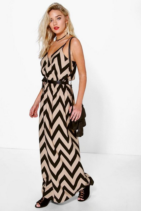 Patricia Strappy Zig Zag Maxi Dress