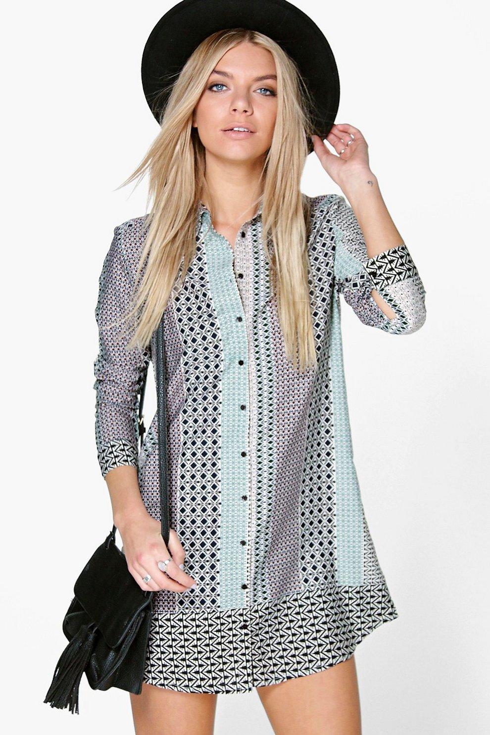 0d940540636 Lauren Geo Print Shirt Dress   Boohoo