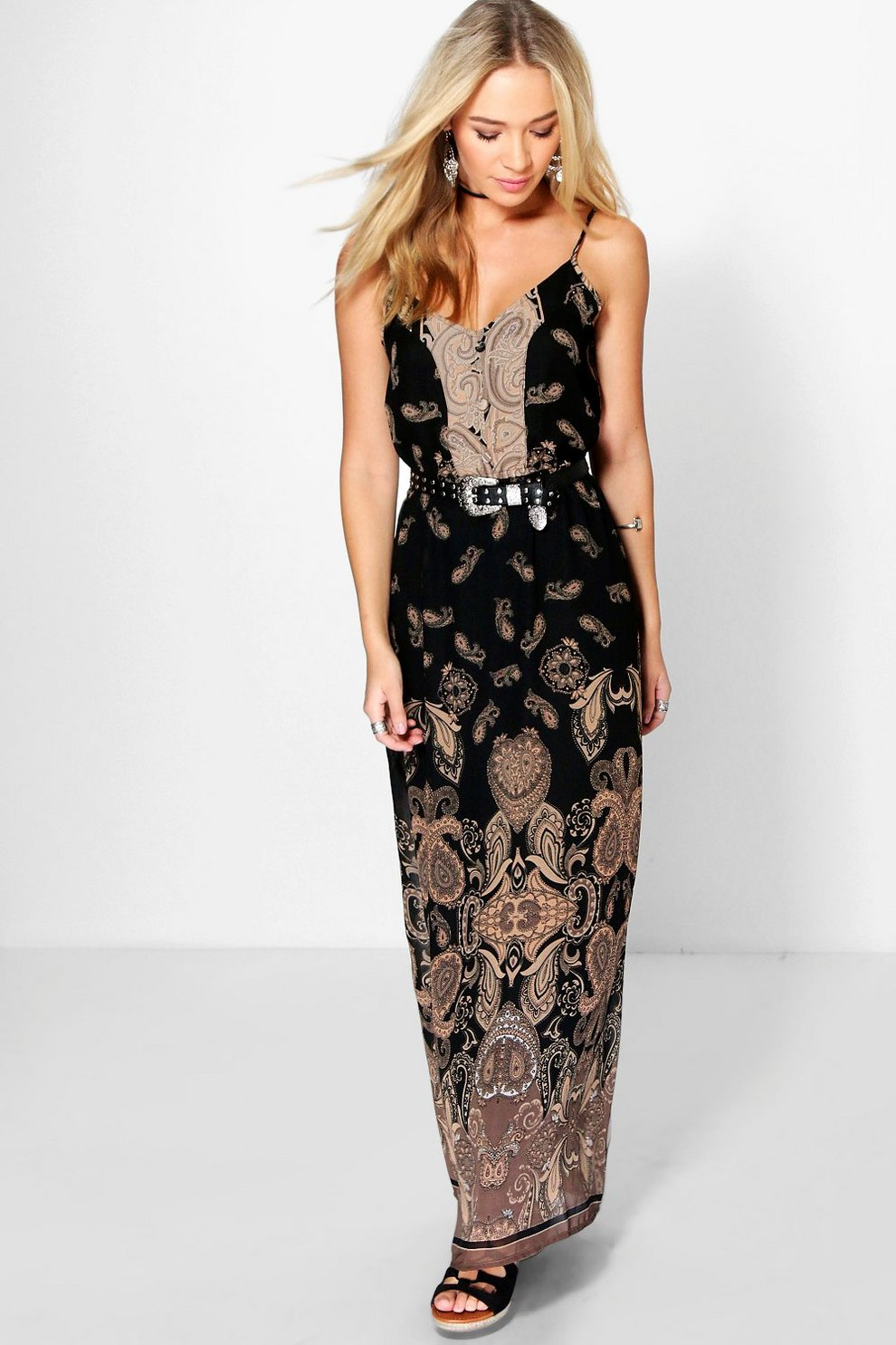 7bb2b069ca7a Jen Paisley Print Strappy Woven Maxi Dress   Boohoo