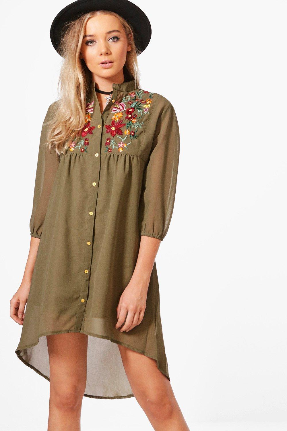 b7c18afd7066 Womens Embroidered Shirt Dress. Hover to zoom