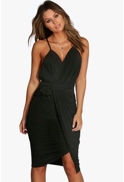 Womens Black Wrap Over Exposed Side Detail Slinky Midi Dress