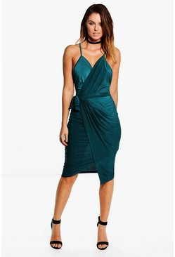 Emerald Wrap Over Exposed Side Detail Slinky Midi Dress