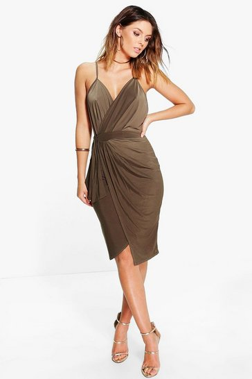 Khaki Wrap Over Exposed Side Detail Slinky Midi Dress