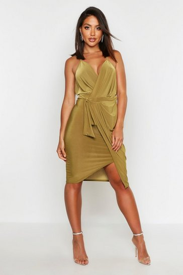 Olive Wrap Over Exposed Side Detail Slinky Midi Dress