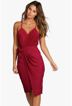 Womens Raspberry Wrap Over Exposed Side Detail Slinky Midi Dress