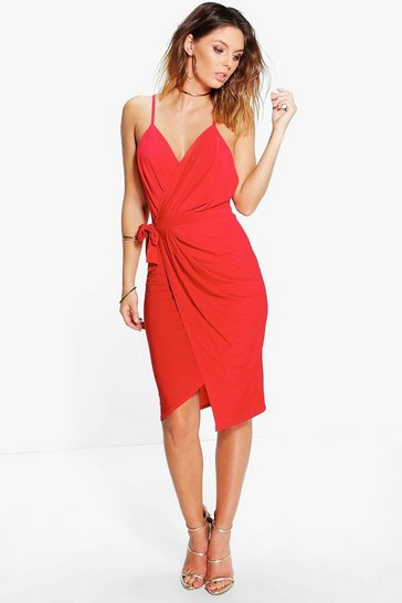 Red Wrap Over Exposed Side Detail Slinky Midi Dress