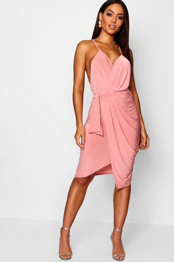Wrap Over Exposed Side Detail Slinky Midi Dress