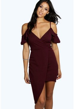 Womens Berry Harper Cold Shoulder Asymmetric Bodycon Dress