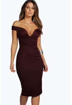 Womens Berry Sweetheart Off Shoulder Bodycon Midi Dress