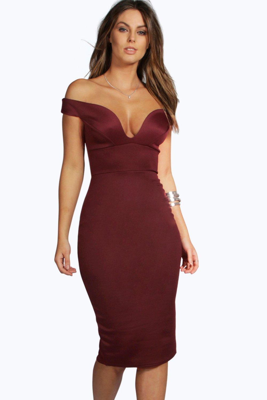 157285747cb Sweetheart Off Shoulder Bodycon Midi Dress | Boohoo