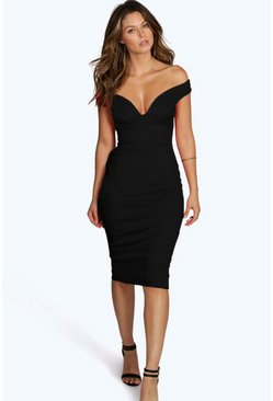 Womens Black Sweetheart Off Shoulder Bodycon Midi Dress