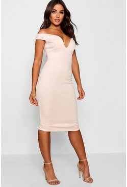 Blush Sweetheart Off Shoulder Bodycon Midi Dress