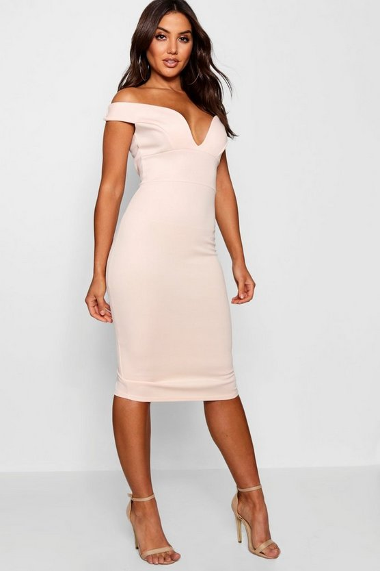 Womens Blush Sweetheart Off Shoulder Bodycon Midi Dress