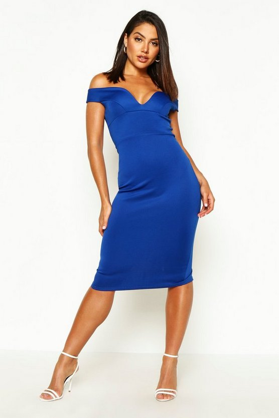 Womens Cobalt Sweetheart Off Shoulder Bodycon Midi Dress