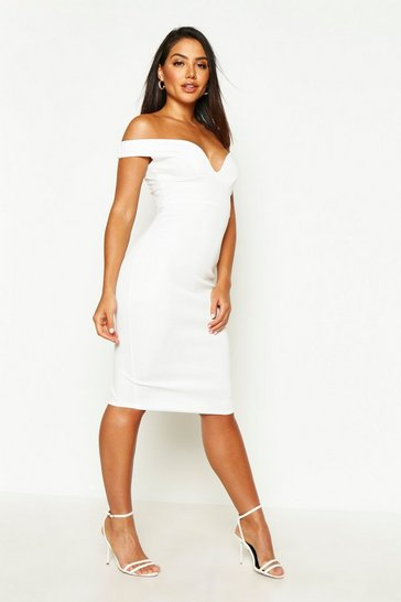 Ivory Sweetheart Off Shoulder Bodycon Midi Dress