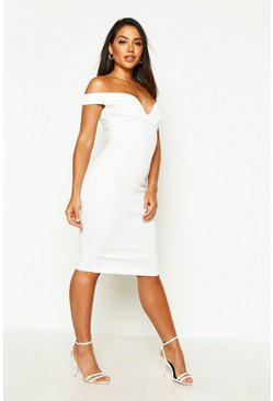 Womens Ivory Sweetheart Off Shoulder Bodycon Midi Dress