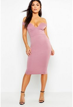 Mauve Sweetheart Off Shoulder Bodycon Midi Dress