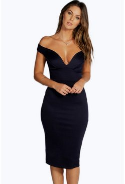 Navy Sweetheart Off Shoulder Bodycon Midi Dress