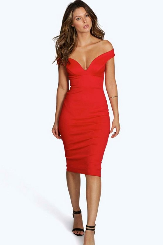 Womens Red Sweetheart Off Shoulder Bodycon Midi Dress